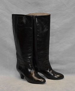 Gucci 100 Vintage Blk Leather Side Zipper Knee High Black Boots