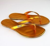 Gucci Leather Thong Flip Flop Gold Sandals