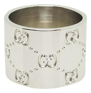 Gucci Gucci 18k White Gold 13.84mm Wide Band Ring 5.75 R212