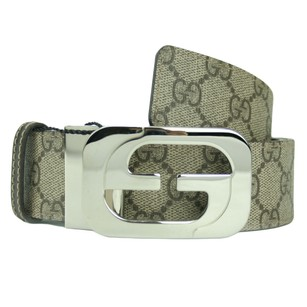 Gucci GUCCI 245861 Men's GG Supreme Reversible Belt w/ Interlocking G Buckle