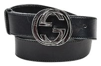Gucci Gucci Black Silver Tone Leather Monogram Buckle Belt 85