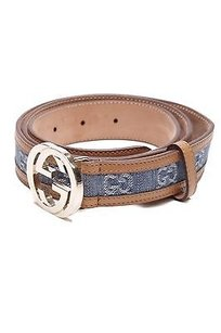 Gucci Gucci Blue Gg Denim Interlocking G Belt Size 40