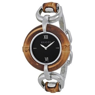 Gucci Gucci Black Dial Bamboo And Stainless Steel Ladies Watch
