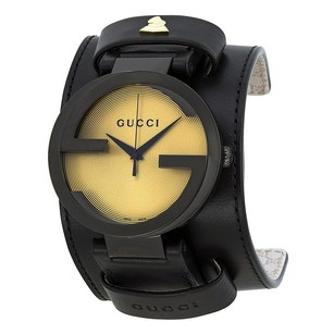 Gucci Gucci Black Leather Cuff Mens Watch
