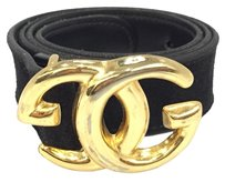Gucci Gucci Black Suede Leather GG Gold Size 70
