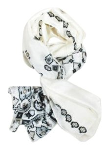 Gucci Gucci Cream Gray Taupe Woven Silk Geometric Patterned Long Lightweight Scarf