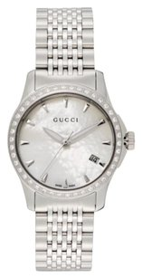 Gucci Gucci Diamond & Stainless Steel Bracelet Watch Silver