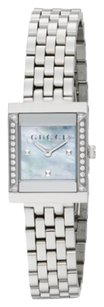 Gucci Gucci G-Frame Diamond, Mother-Of-Pearl & Stainless Steel Watch