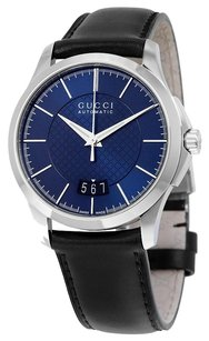 Gucci GUCCI G-Timeless Automatic Blue Diamond Pattern Dial Black Calf Leather Strap Men's Watch YA126443