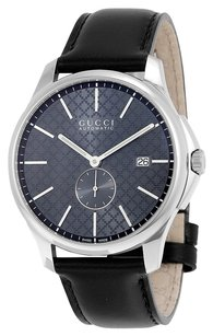 Gucci GUCCI G-Timeless Automatic Grey Dial Black Leather Men's Watch YA126319