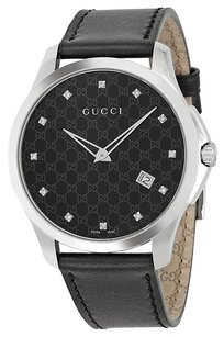 Gucci Gucci G-Timeless Black Dial Black Leather Ladies Watch YA126305
