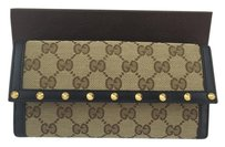 Gucci Gucci GG Canvas Studded Wallet with Black Leather Trim