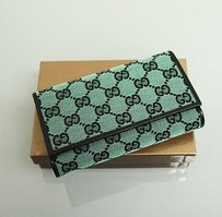 Gucci Gucci Gg Canvasleather Trifold Wallet Green Wcoin Pocket 263114