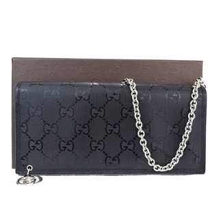 Gucci GUCCI GG Pattern Chain Bag Long Bifold Vinyl Coating Leather Wallet