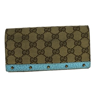 Gucci GUCCI GG Pattern Long Bifold Studded Canvas Leather Wallet Purse