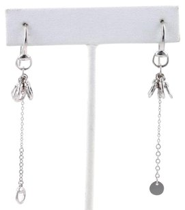 Gucci Gucci 18k White Gold Cluster Horse Bit Drop Dangle Earrings