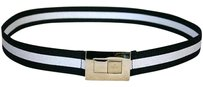Gucci Gucci Ladies Blackwhite Web Belt 105/42 Wgold Buckle 253488
