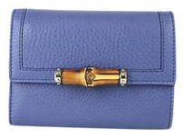 Gucci Gucci Leather Trifold Wallet Wbamboo Detail Blue 257017 4217