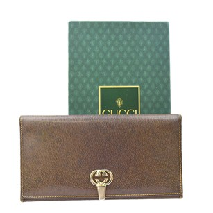 Gucci GUCCI Logos Long Bifold Leather Brown Wallet Purse