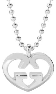 Gucci GUCCI LOVE BRITT GG HEART 925 ST SILVER PENDANT NECKLACE
