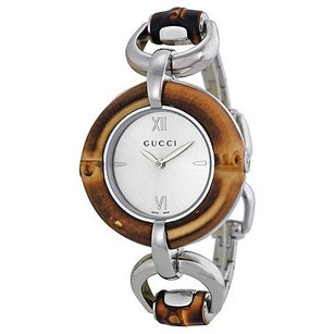 Gucci Gucci Silver Dial Bamboo And Stainless Steel Ladies Watch