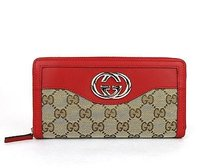 Gucci Gucci,Sukey,Original,Gg,Canvasred,Leather,Zip,Around,Wallet,