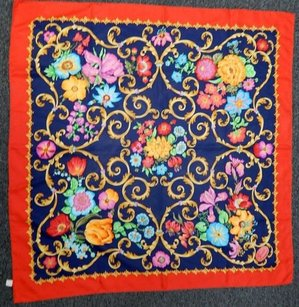Gucci Gucci Vintage Red Navy Blue Multi Floral 100 Silk Scarf Italy
