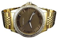 Gucci Gucci Ya126406 Stainless Steel Gold Pvd Real Diamond Luxury Dress Watch 1.80ct.