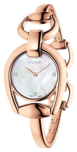 Gucci Horsebit Small Mother of Pearl Diamond Dial Rose Gold PVD Ladies Watch YA139508