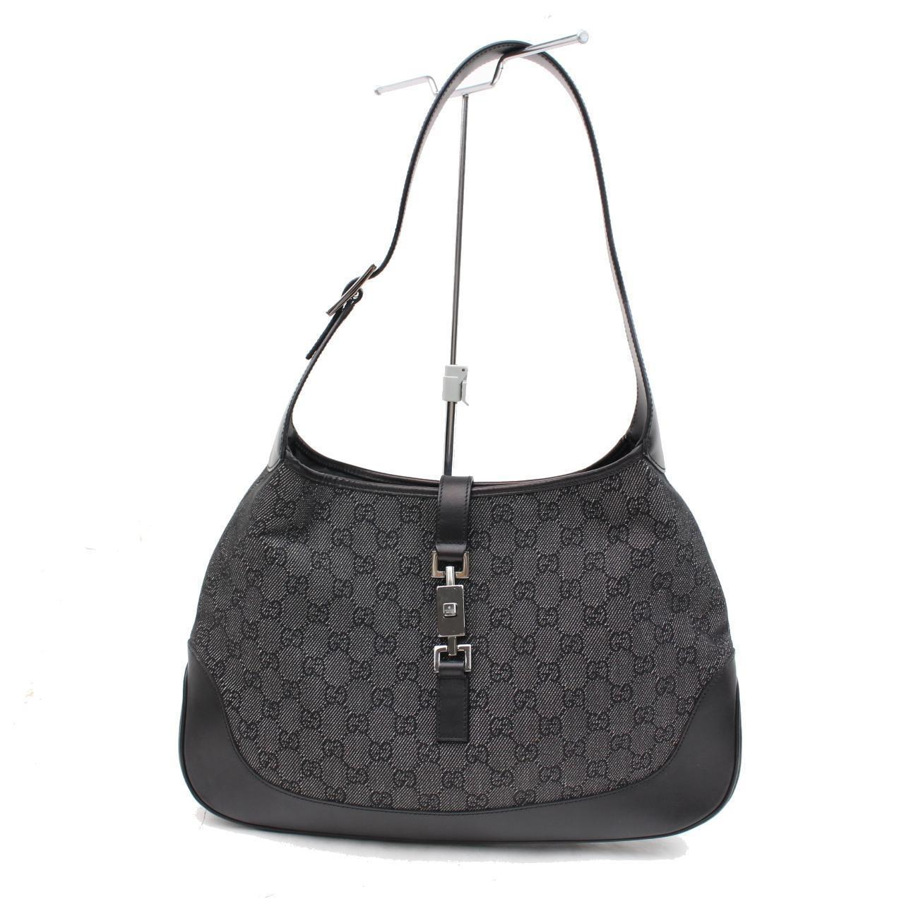 Gucci Floral Canvas & Black Leather Hobo Jackie O SqWCU