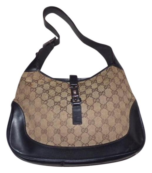 Gucci Browns Leather/Canvas Jackie Hobo Bag