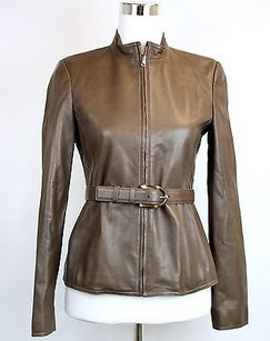 Gucci Leather Bamboo Brown Jacket