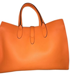 Gucci Leather Palladium Suede Interior Classic Tote in Orange