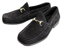 Gucci Suede Loafer Moccasin Black Flats