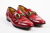 Gucci Patent Leather Gold Red Flats