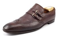 Gucci Mens Shoes Leather Wingtip Monk Strap Loafers 271298 Brown