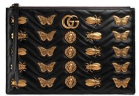 Gucci Monogram Gold Hardware Black Clutch