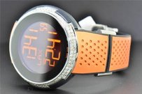 Gucci Mens Custom Diamond Gucci I-gucci Ya114104 Orange Digital 49 Mm Face Watch