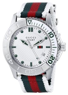 Gucci Mens G-Timeless Dive Stainless Steel Watch with Nylon Strap YA126231