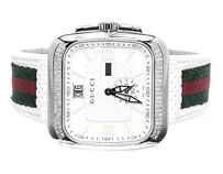 Gucci Mens White Gucci Coupe Red Green Flag Band Diamond Sports Watch 1.0ct Ya131303