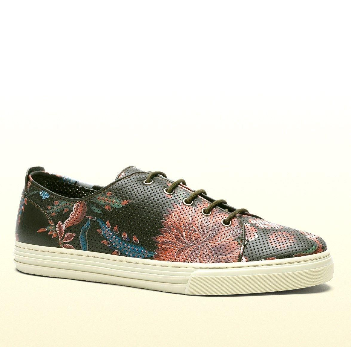 Gucci Multi-color 3035 Men's Flower Print Leather Lace-up 342049 Size 10 G  ...