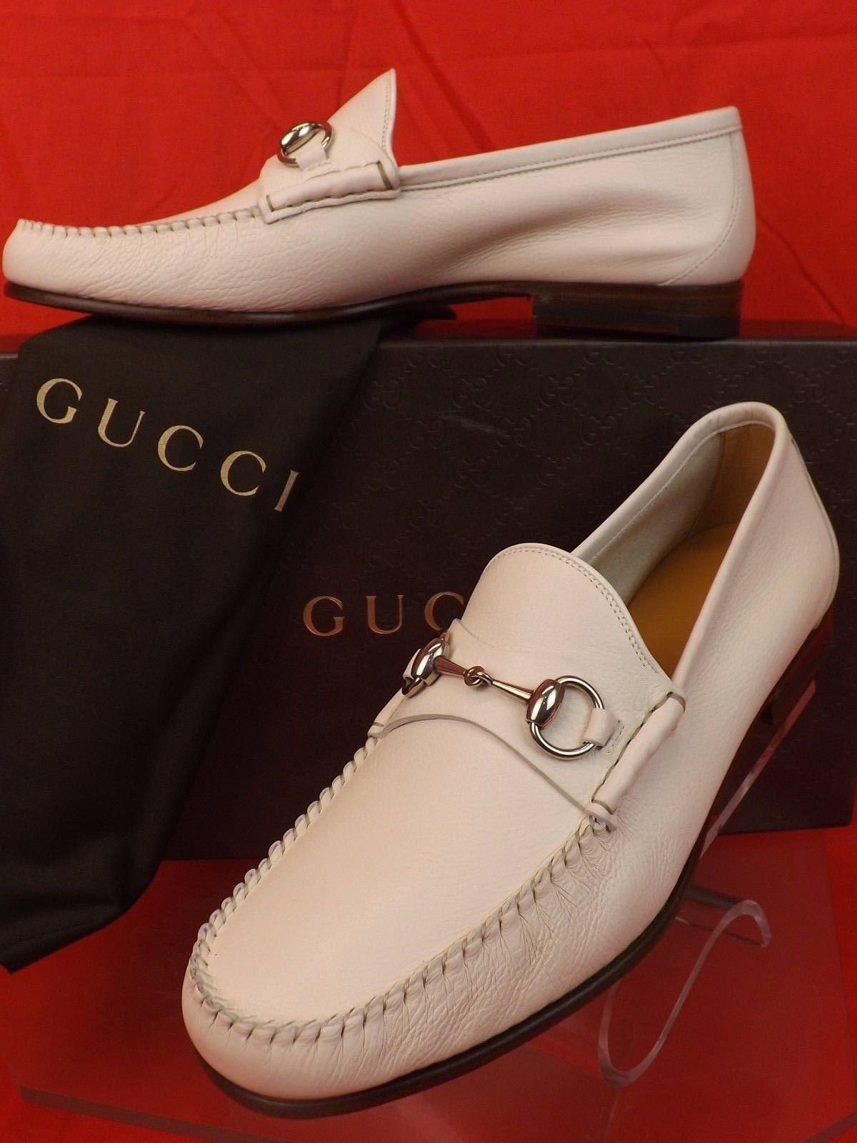 Gucci Mystic-white Horsebit Men's Leather Silver Loafers 9.5 10.5 #367926  Shoes ...