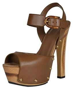 Gucci Nadege Clogs Platform Brown Sandals