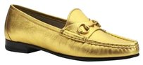 Gucci Nappa Loafers Fashion Gold Flats