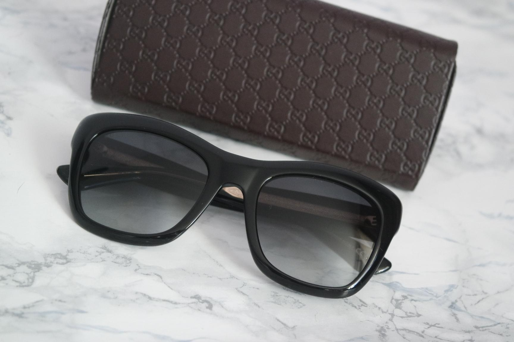 7a00653369 Gucci new oversized black cat eye sunglasses gold metal logo jpg 440x293  Gucci logo gold sunglass