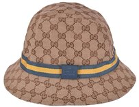 Gucci NEW GUCCI 200036 GG Guccissima Green Yellow Web Stripe Fedora Bucket Hat XL