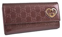 Gucci New GUCCI 245728 GG Shine Heart Plaque Continental Flap Clutch Wallet