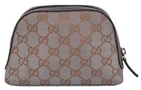 Gucci New Gucci 272366 Metallic Grey Gold Canvas GG Dome Cosmetic Makeup Bag