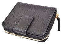 Gucci NEW GUCCI 346056 BLACK LEATHER GG GUCCISSIMA FRENCH ZIP AROUND COIN WALLET