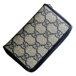 Gucci PRE-OWNED ORIGINAL BLUE GG CANVAS GUCCI ZIP AROUND CARD CASE